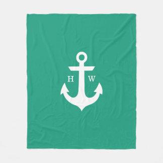 Emerald Green Anchor Nautical Monogram Fleece Blanket