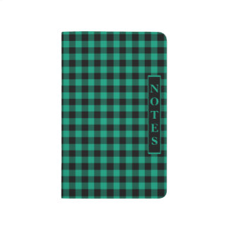 Emerald Green And  Black Ckecked Gingham Journal