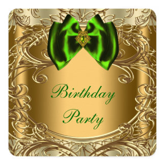 Emerald Green and Gold Birthday Party Card