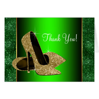 Emerald Green and Gold High Heel Shoes Thank You Note Card
