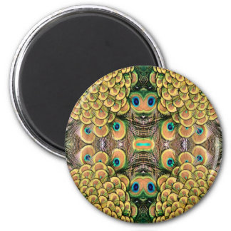 Emerald Green and Gold Peacock Feathers 6 Cm Round Magnet