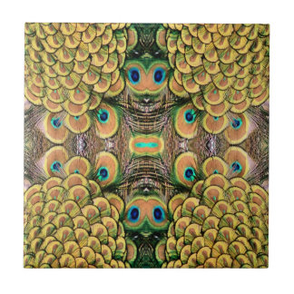 Emerald Green and Gold Peacock Feathers Small Square Tile