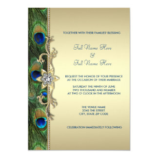 Emerald Green and Gold Peacock Wedding 13 Cm X 18 Cm Invitation Card