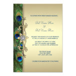 Emerald Green and Gold Peacock Wedding Personalized Invitation