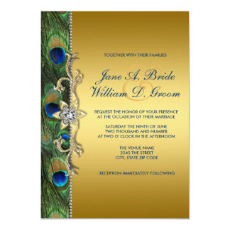 Emerald Green and Gold Peacock Wedding Personalized Invite