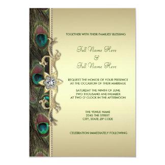 Emerald Green and Gold Peacock Wedding Card