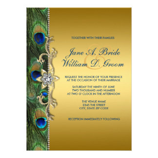 Emerald Green and Gold Peacock Wedding Invite