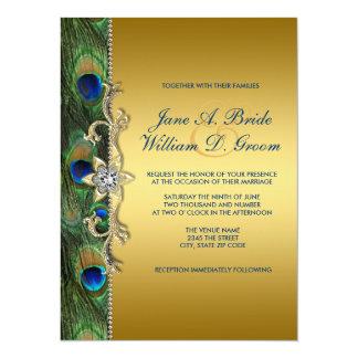 Emerald Green and Gold Peacock Wedding Invite