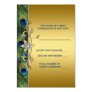 Emerald Green and Gold Peacock Wedding RSVP 9 Cm X 13 Cm Invitation Card