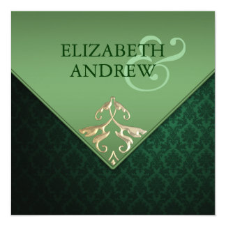 Emerald Green and Gold Square Wedding Invitation