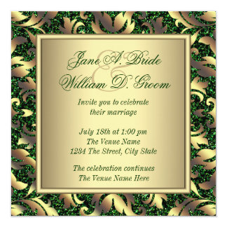 Emerald Green and Gold Wedding 13 Cm X 13 Cm Square Invitation Card