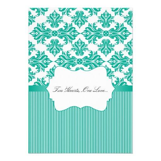 Emerald Green and White Damask Wedding Invitation