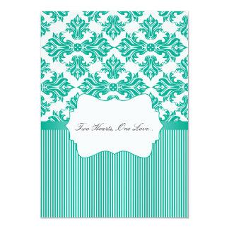 "Emerald Green and White Damask Wedding Invitation 5"" X 7"" Invitation Card"