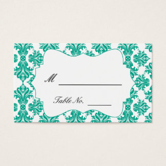 Emerald Green and White Damask Wedding Place Cards