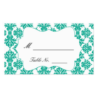 Emerald Green and White Damask Wedding Place Cards Pack Of Standard Business Cards