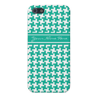 Emerald Green and White Dogstooth Pattern Case For The iPhone 5