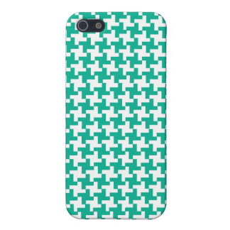 Emerald Green and White Dogtooth Check iPhone 5 Cover