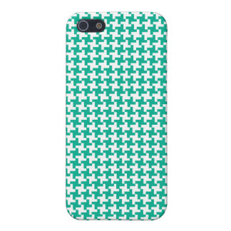 Emerald Green and White Dogtooth Check Pattern iPhone 5/5S Case
