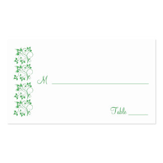 Emerald Green and White Floral Placecards Business Card