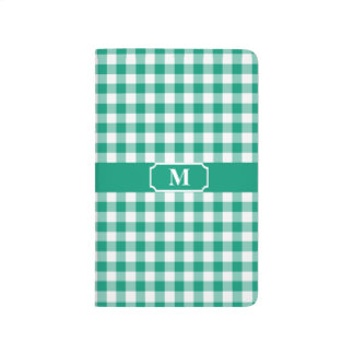 Emerald Green and White Gingham checked Monogram Journal