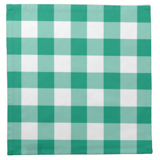 Emerald Green And White Gingham Checks Pattern Napkin