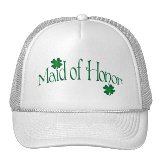 Emerald Green and White Shamrock Maid of Honor Cap