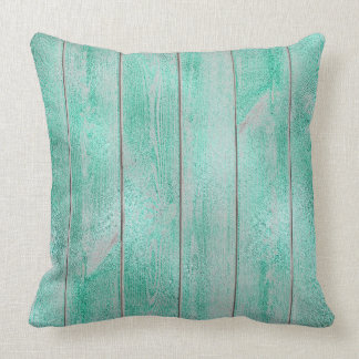 Emerald Green Aqua Glam Metallic Wood Cottage Home Cushion