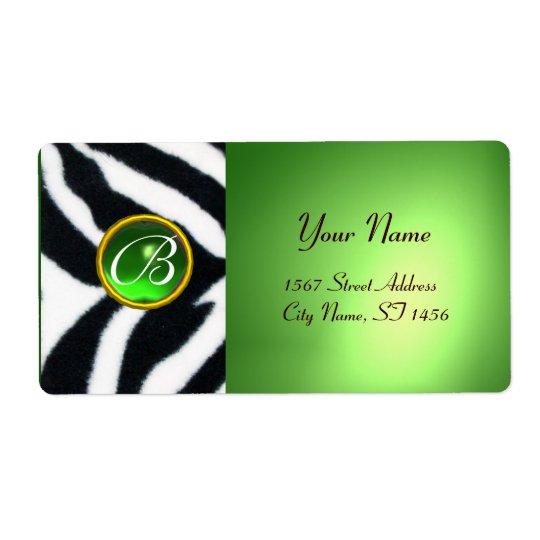 EMERALD GREEN BLACK WHITE ZEBRA FUR MONOGRAM