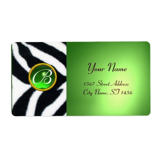 EMERALD GREEN BLACK WHITE ZEBRA FUR MONOGRAM SHIPPING LABEL