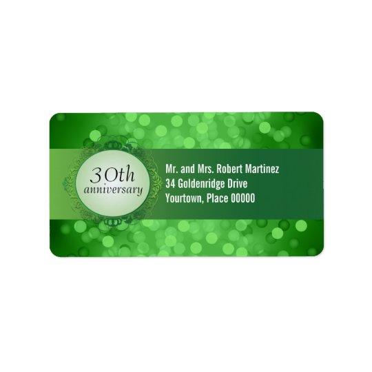 Emerald Green Bokeh 30th Anniversary Address Label