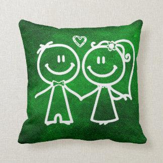 Emerald Green Chalkboard Loving Doodles Cushion