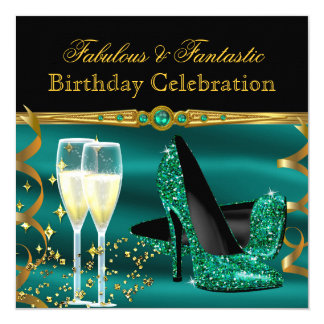 Emerald Green Champagne Heels Birthday Party Card