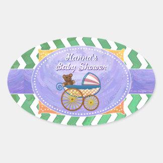 Emerald Green Chevron Baby Shower Oval Sticker