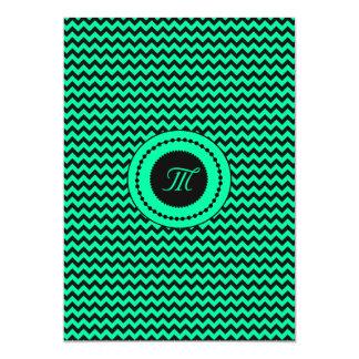 Emerald Green Chevron Monogrammed Wedding Card