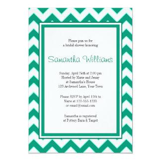 Emerald Green Chevron Pattern Bridal Shower 13 Cm X 18 Cm Invitation Card