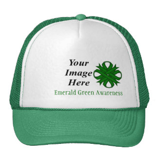 Emerald Green Clover Ribbon Template Cap