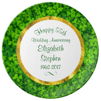 Emerald Green Clovers 55th Anniversary Plate