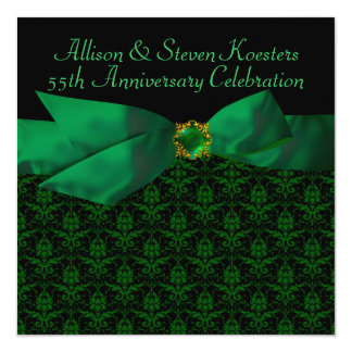 Emerald Green Damask 20th/55th Anniversary Party Card