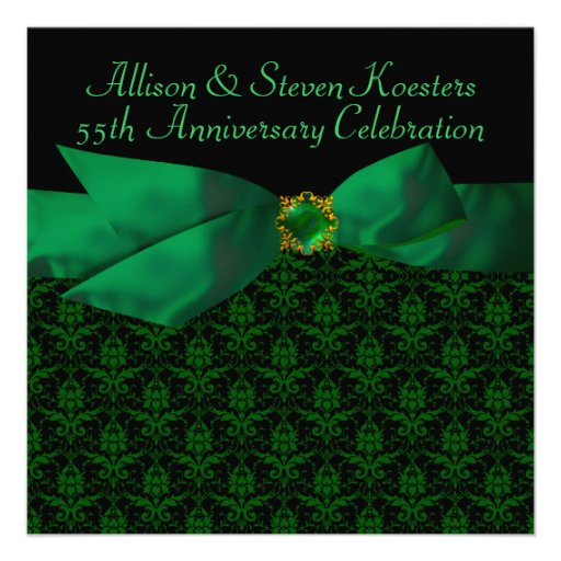 Emerald Green Damask 20th/55th Anniversary Party Personalized Announcement