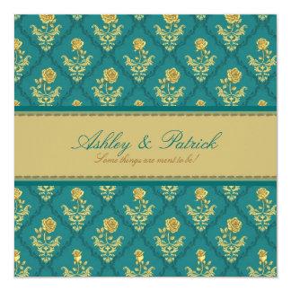 """Emerald Green Damask Wedding Invitation 5.25"""" Square Invitation Card"""