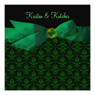 Emerald Green Damask Wedding Invitations Black