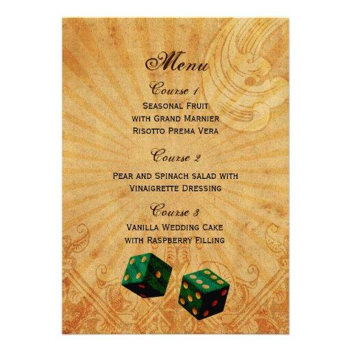 emerald green dice Vintage Vegas wedding menu Custom Announcements