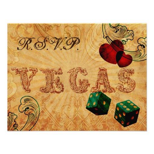 emerald green dice Vintage Vegas wedding rsvp Personalized Invitation