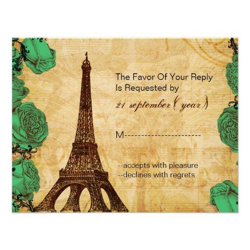 emerald green eiffel tower Paris wedding rsvp Custom Announcements