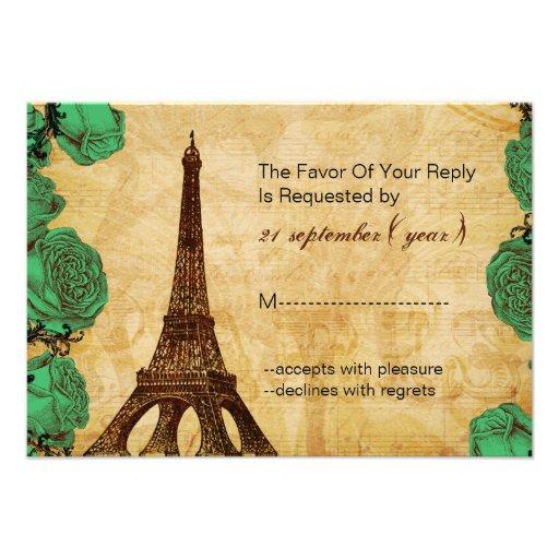 emerald green eiffel tower wedding rsvp 3.5 x 5 custom announcement