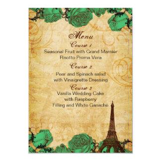 emerald green eiffeltower Paris wedding menu cards 13 Cm X 18 Cm Invitation Card