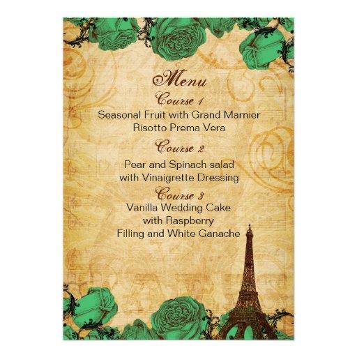 emerald green eiffeltower Paris wedding menu cards