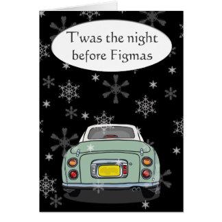 Emerald Green Figaro Car Christmas Card