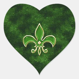 Emerald Green Fleur de Lis Heart Sticker Sheets