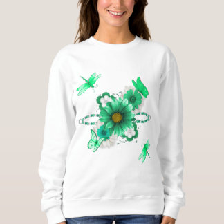 Emerald Green Floral Sweatshirt